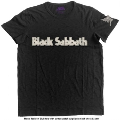 Black Sabbath - Men's Fashion Tee: Logo & Daemon with Applique Motifs (M)