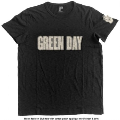 Green Day - Men's Fashion Tee: Logo & Grenade with Applique Motifs
