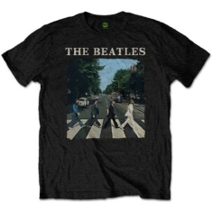 Beatles - T-shirt - Abbey Road & Logo (Kids Black) (7-8 år)