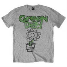 Green Day - T-shirt - Flower Pot  (Men Grey)