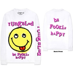Yungblud - Unisex Long Sleeved Tee White - Raver Smile (Arm & Back Print)
