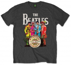 The Beatles Sgt Pepper Charcoal Mens TS: Large - T-shirt
