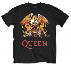 Queen Classic Crest Black Mens T Shirt